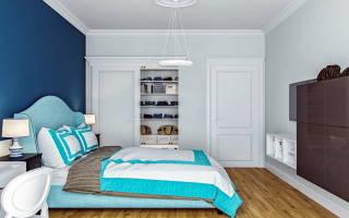 Спальня в бирюзовых тонах с фото