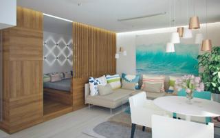 Студия со спальней и гостиной: проект Татьяны Лейтан