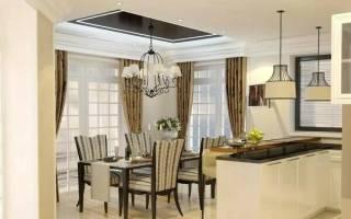 Дизайн интерьера кухни, совмещенной со столовой и гостиной в частном доме с фото