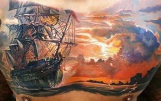 Эффектное тату корабль: значение, варианты исполнения, эскизы